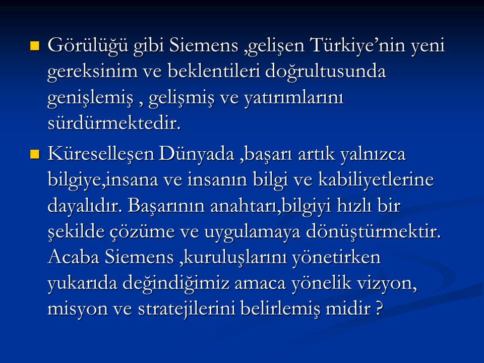  Görülüğü gibi Siemens,gelişen Türkiye'nin yeni gereksinim ve beklentileri doğrultusunda genişlemiş, gelişmiş ve yatırımlarını sürdürmektedir.  Küre