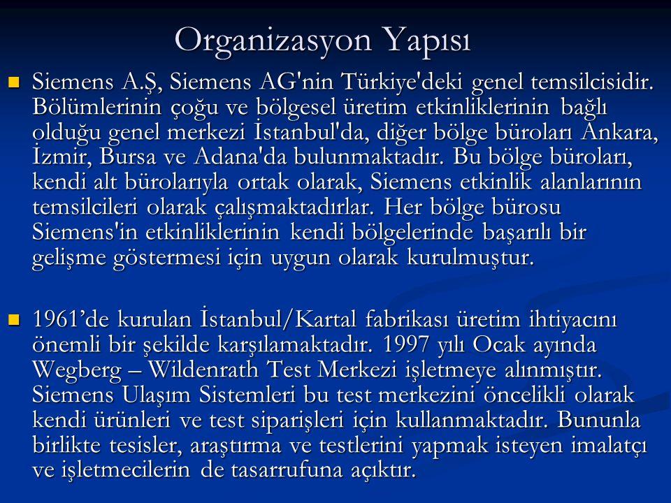 Organizasyon Yapısı  Siemens A.Ş, Siemens AG'nin Türkiye'deki genel temsilcisidir. Bölümlerinin çoğu ve bölgesel üretim etkinliklerinin bağlı olduğu
