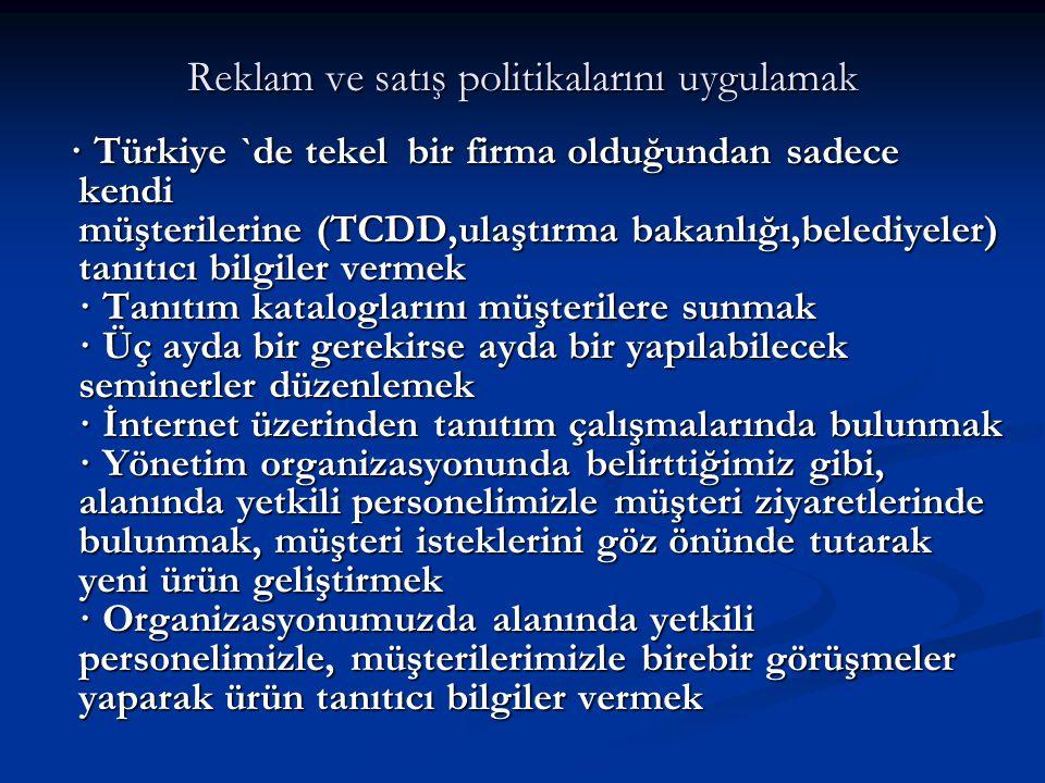Reklam ve satış politikalarını uygulamak · Türkiye `de tekel bir firma olduğundan sadece kendi müşterilerine (TCDD,ulaştırma bakanlığı,belediyeler) ta