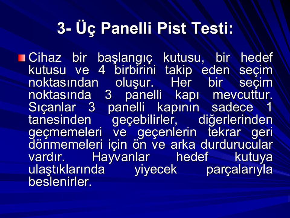3- Üç Panelli Pist Testi: Cihaz bir başlangıç kutusu, bir hedef kutusu ve 4 birbirini takip eden seçim noktasından oluşur. Her bir seçim noktasında 3