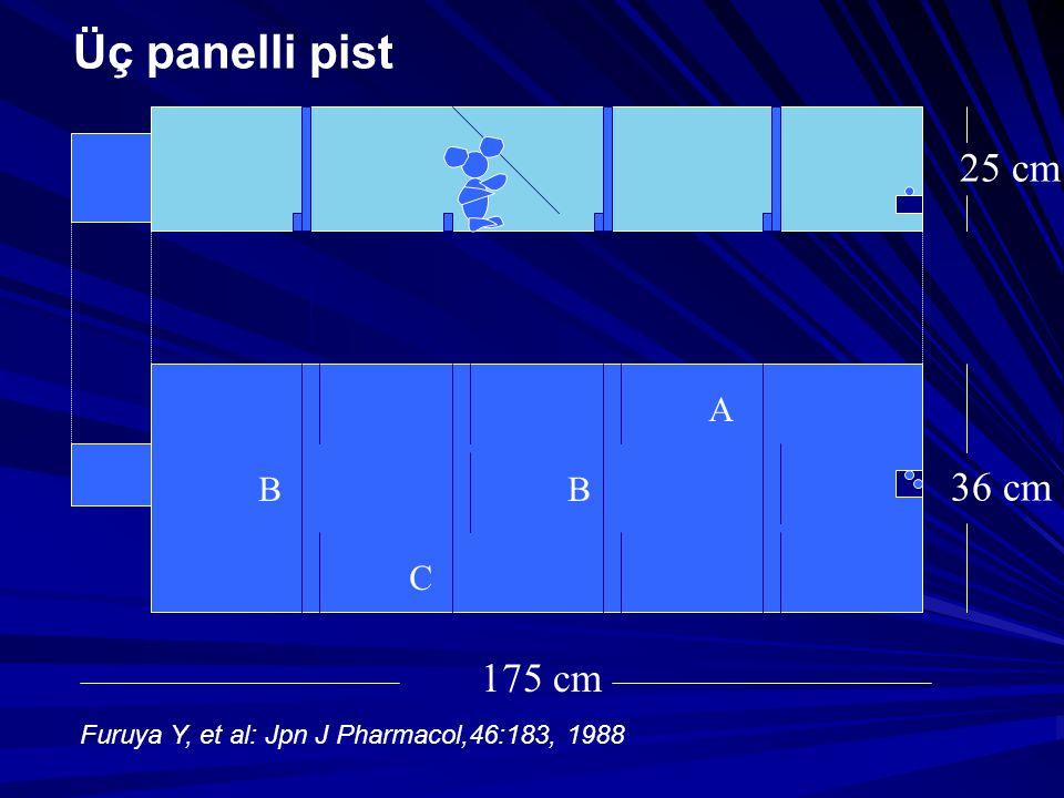 B C B A 175 cm 25 cm 36 cm Üç panelli pist Furuya Y, et al: Jpn J Pharmacol,46:183, 1988