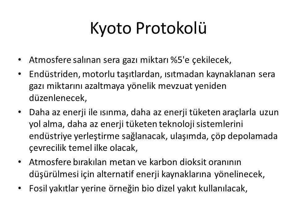 Kyoto Protokolü • Atmosfere salınan sera gazı miktarı %5'e çekilecek, • Endüstriden, motorlu taşıtlardan, ısıtmadan kaynaklanan sera gazı miktarını az