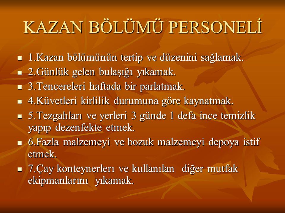 KAZAN BÖLÜMÜ PERSONELİ  1.Kazan bölümünün tertip ve düzenini sağlamak.
