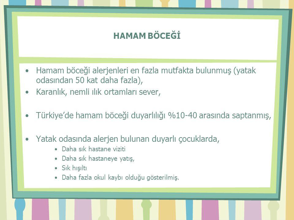 HAMAM BÖCEĞİ •Hamam böceği alerjenleri en fazla mutfakta bulunmuş (yatak odasından 50 kat daha fazla), •Karanlık, nemli ılık ortamları sever, •Türkiye