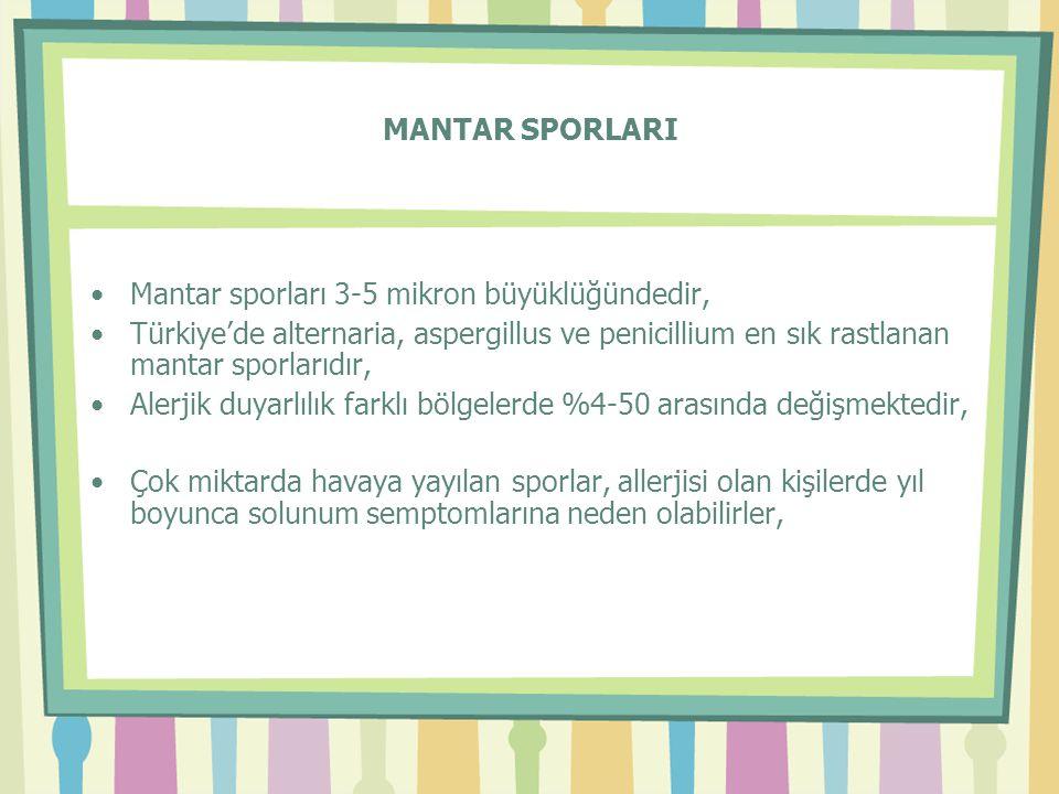 MANTAR SPORLARI •Mantar sporları 3-5 mikron büyüklüğündedir, •Türkiye'de alternaria, aspergillus ve penicillium en sık rastlanan mantar sporlarıdır, •Alerjik duyarlılık farklı bölgelerde %4-50 arasında değişmektedir, •Çok miktarda havaya yayılan sporlar, allerjisi olan kişilerde yıl boyunca solunum semptomlarına neden olabilirler,