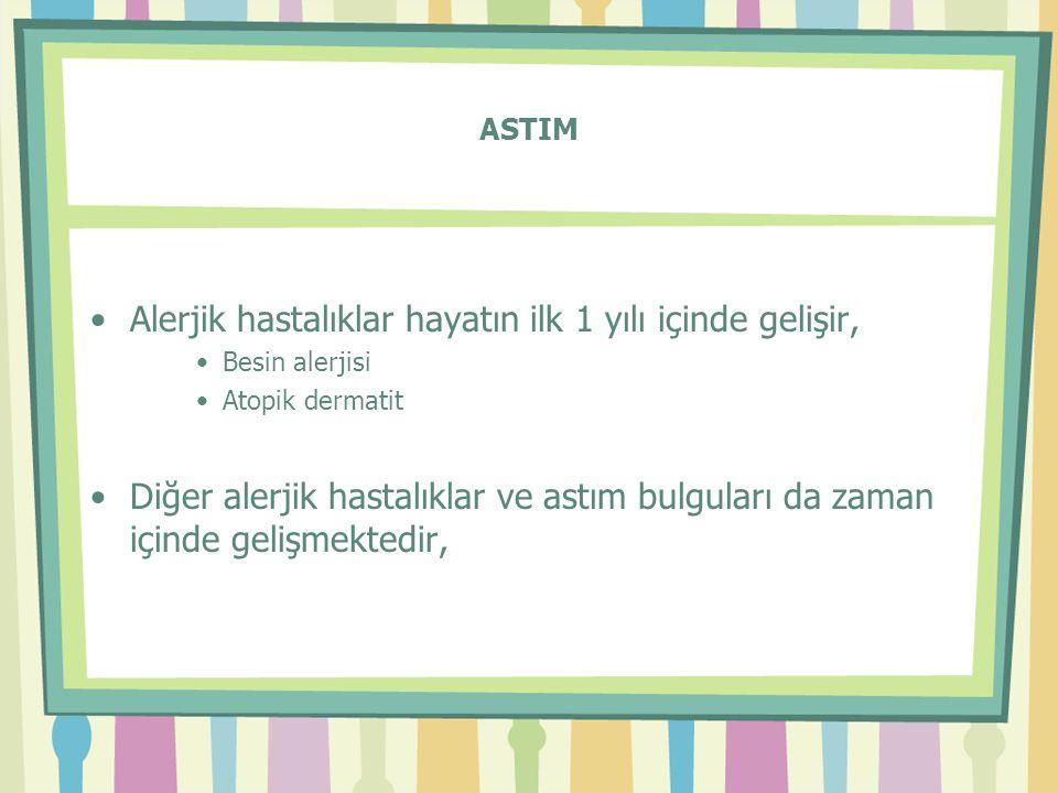 ASTIM •Alerjik hastalıklar hayatın ilk 1 yılı içinde gelişir, •Besin alerjisi •Atopik dermatit •Diğer alerjik hastalıklar ve astım bulguları da zaman