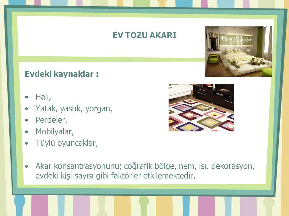 EV TOZU AKARI Evdeki kaynaklar : •Halı, •Yatak, yastık, yorgan, •Perdeler, •Mobilyalar, •Tüylü oyuncaklar, •Akar konsantrasyonunu; coğrafik bölge, nem