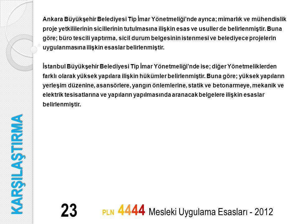 23 PLN 4444 Mesleki Uygulama Esasları - 2012 Ankara Büyükşehir Belediyesi Tip İmar Yönetmeliği'nde ayrıca; mimarlık ve mühendislik proje yetkililerini
