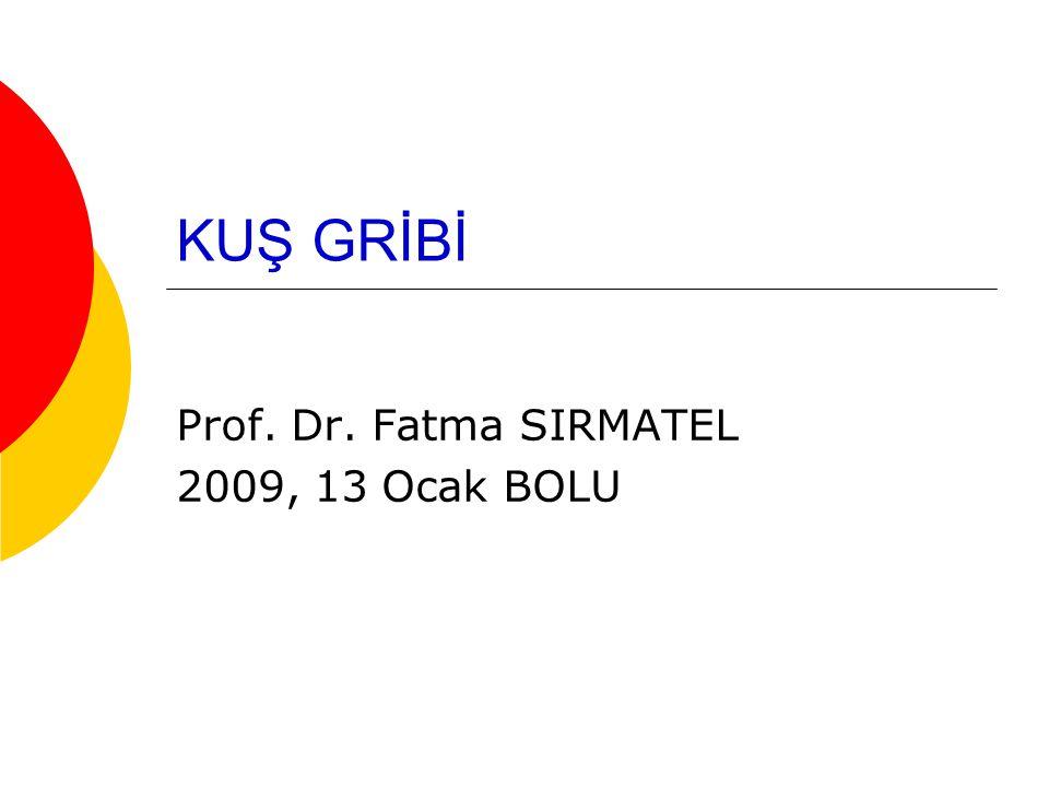 KUŞ GRİBİ Prof. Dr. Fatma SIRMATEL 2009, 13 Ocak BOLU