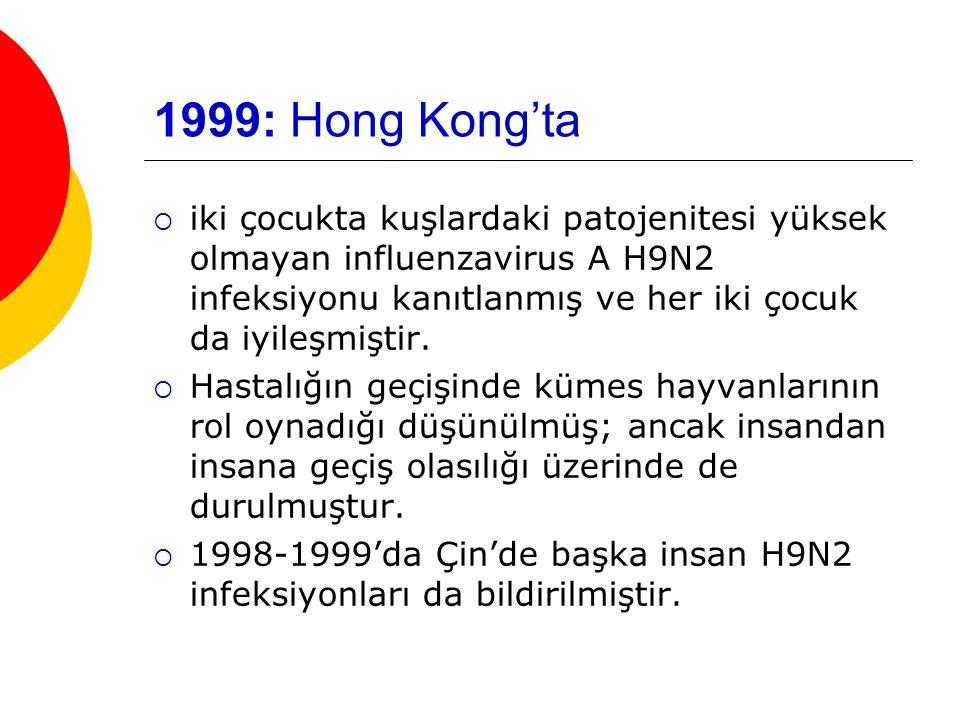 1999: Hong Kong'ta  iki çocukta kuşlardaki patojenitesi yüksek olmayan influenzavirus A H9N2 infeksiyonu kanıtlanmış ve her iki çocuk da iyileşmiştir