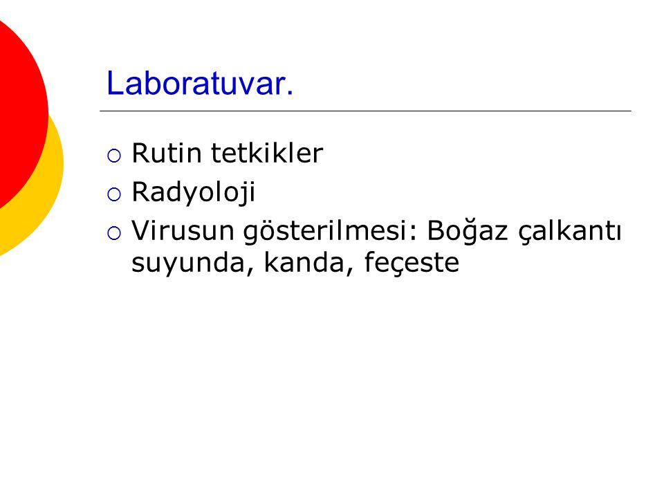 Laboratuvar.  Rutin tetkikler  Radyoloji  Virusun gösterilmesi: Boğaz çalkantı suyunda, kanda, feçeste