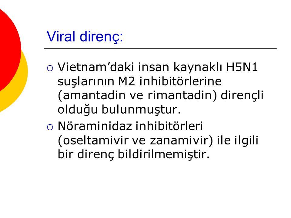 Viral direnç:  Vietnam'daki insan kaynaklı H5N1 suşlarının M2 inhibitörlerine (amantadin ve rimantadin) dirençli olduğu bulunmuştur.  Nöraminidaz in