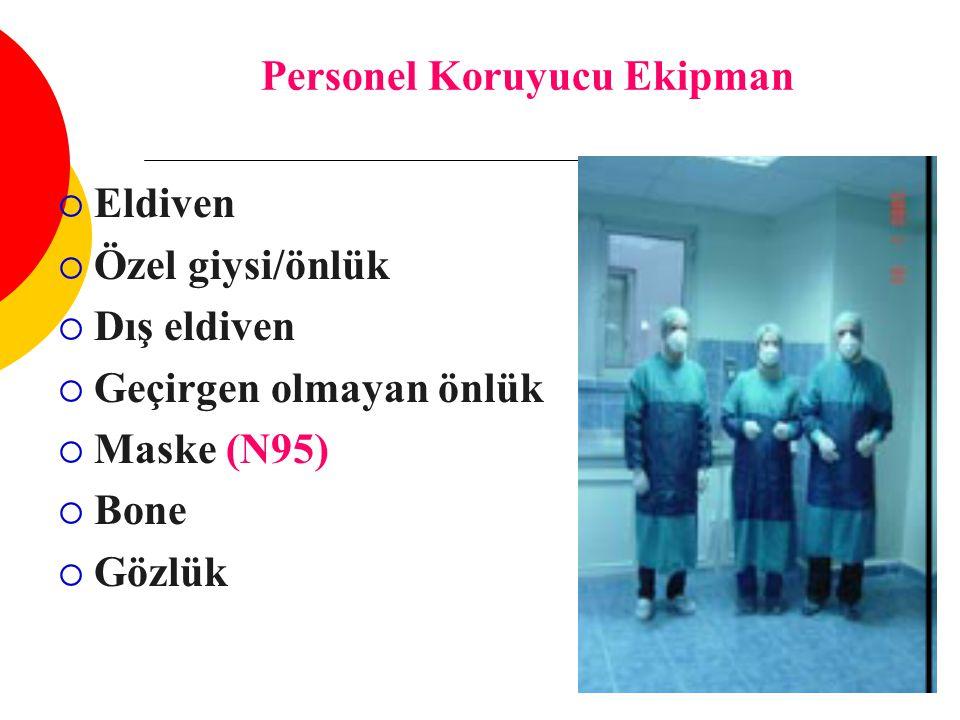 Personel Koruyucu Ekipman  Eldiven  Özel giysi/önlük  Dış eldiven  Geçirgen olmayan önlük  Maske (N95)  Bone  Gözlük