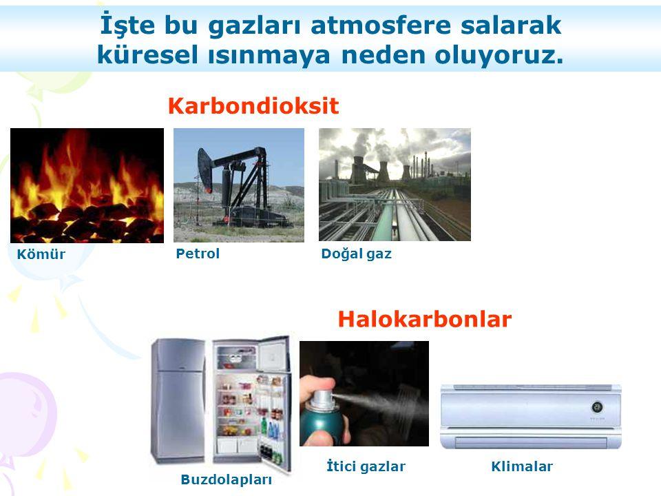 Kömür PetrolDoğal gaz Karbondioksit Halokarbonlar Buzdolapları İtici gazlarKlimalar İşte bu gazları atmosfere salarak küresel ısınmaya neden oluyoruz.