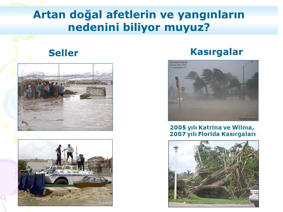 Seller Artan doğal afetlerin ve yangınların nedenini biliyor muyuz? Kasırgalar 2005 yılı Katrina ve Wilma, 2007 yılı Florida Kasırgaları