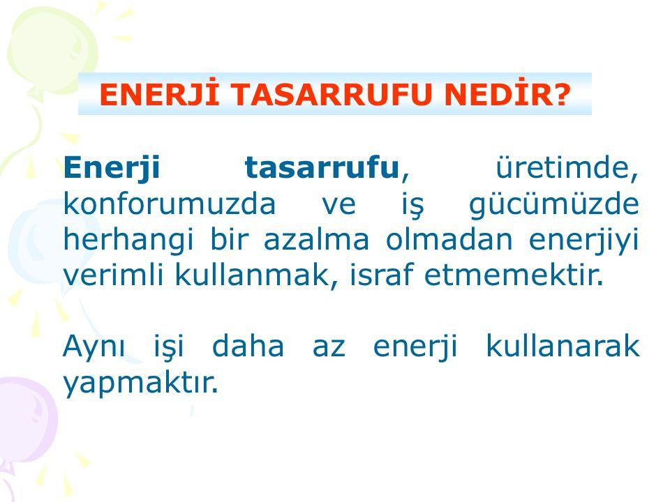 Enerji tasarrufu, üretimde, konforumuzda ve iş gücümüzde herhangi bir azalma olmadan enerjiyi verimli kullanmak, israf etmemektir. Aynı işi daha az en