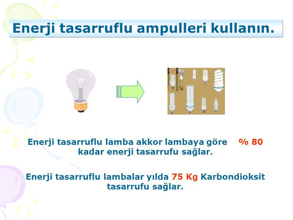 Enerji tasarruflu ampulleri kullanın. Enerji tasarruflu lambalar yılda 75 Kg Karbondioksit tasarrufu sağlar. Enerji tasarruflu lamba akkor lambaya gör
