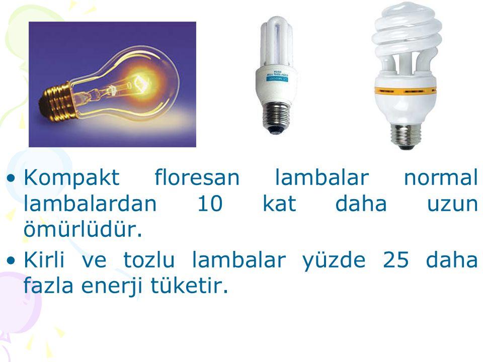 •Kompakt floresan lambalar normal lambalardan 10 kat daha uzun ömürlüdür. •Kirli ve tozlu lambalar yüzde 25 daha fazla enerji tüketir.