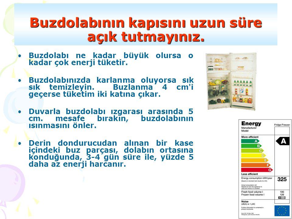 Buzdolabının kapısını uzun süre açık tutmayınız. •Buzdolabı ne kadar büyük olursa o kadar çok enerji tüketir. •Buzdolabınızda karlanma oluyorsa sık sı