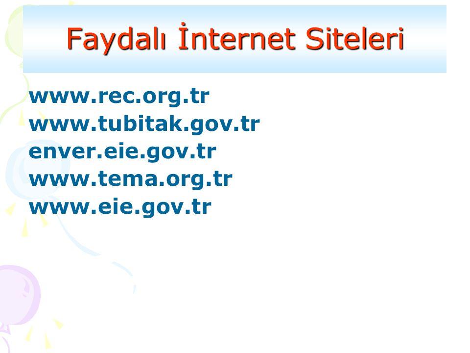 Faydalı İnternet Siteleri www.rec.org.tr www.tubitak.gov.tr enver.eie.gov.tr www.tema.org.tr www.eie.gov.tr