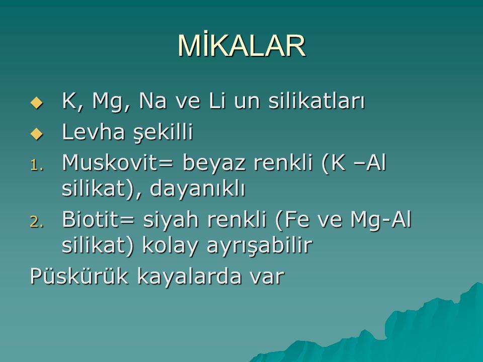 MİKALAR  K, Mg, Na ve Li un silikatları  Levha şekilli 1.