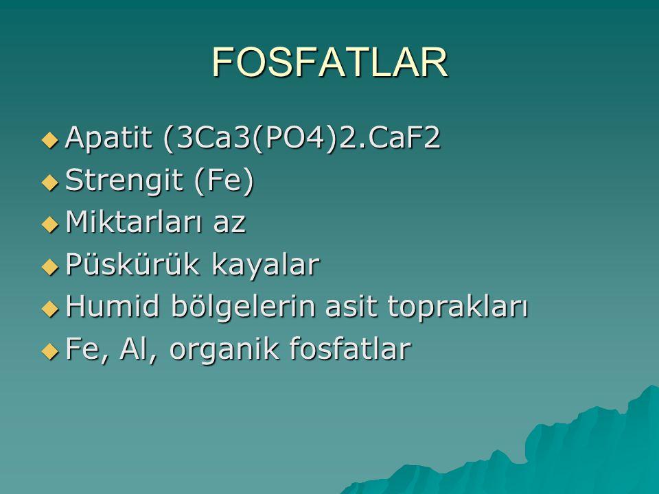 FOSFATLAR  Apatit (3Ca3(PO4)2.CaF2  Strengit (Fe)  Miktarları az  Püskürük kayalar  Humid bölgelerin asit toprakları  Fe, Al, organik fosfatlar