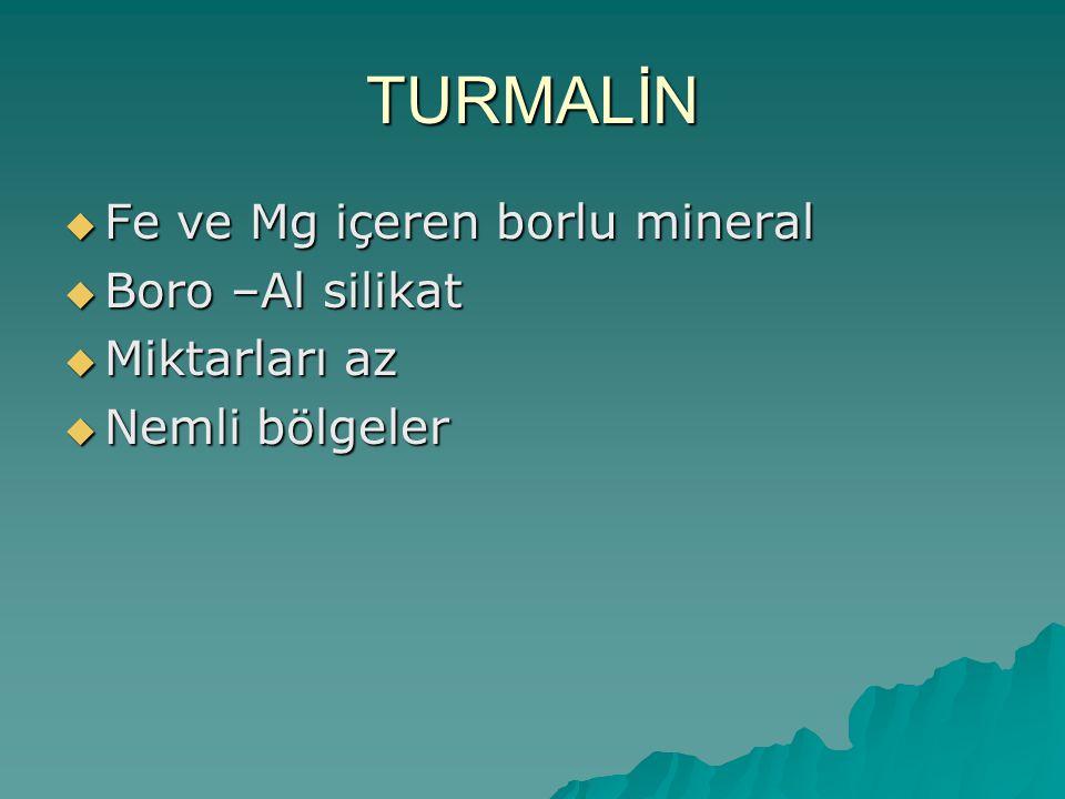 TURMALİN  Fe ve Mg içeren borlu mineral  Boro –Al silikat  Miktarları az  Nemli bölgeler