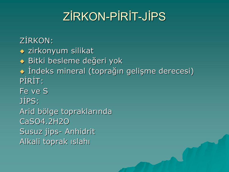 ZİRKON-PİRİT-JİPS ZİRKON:  zirkonyum silikat  Bitki besleme değeri yok  İndeks mineral (toprağın gelişme derecesi) PİRİT: Fe ve S JİPS: Arid bölge topraklarında CaSO4.2H2O Susuz jips- Anhidrit Alkali toprak ıslahı