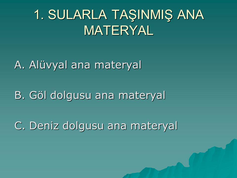 1.SULARLA TAŞINMIŞ ANA MATERYAL A. Alüvyal ana materyal B.