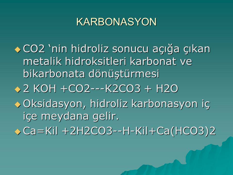KARBONASYON  CO2 'nin hidroliz sonucu açığa çıkan metalik hidroksitleri karbonat ve bikarbonata dönüştürmesi  2 KOH +CO2---K2CO3 + H2O  Oksidasyon, hidroliz karbonasyon iç içe meydana gelir.