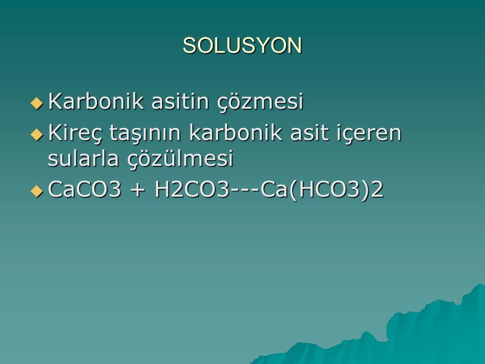 SOLUSYON  Karbonik asitin çözmesi  Kireç taşının karbonik asit içeren sularla çözülmesi  CaCO3 + H2CO3---Ca(HCO3)2