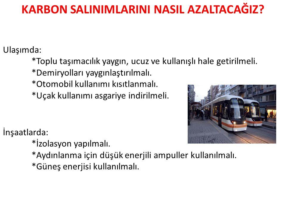 Ulaşımda: *Toplu taşımacılık yaygın, ucuz ve kullanışlı hale getirilmeli.
