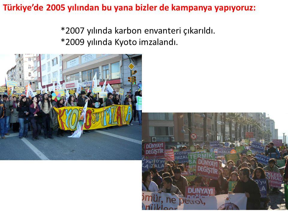 Türkiye'de 2005 yılından bu yana bizler de kampanya yapıyoruz: *2007 yılında karbon envanteri çıkarıldı.