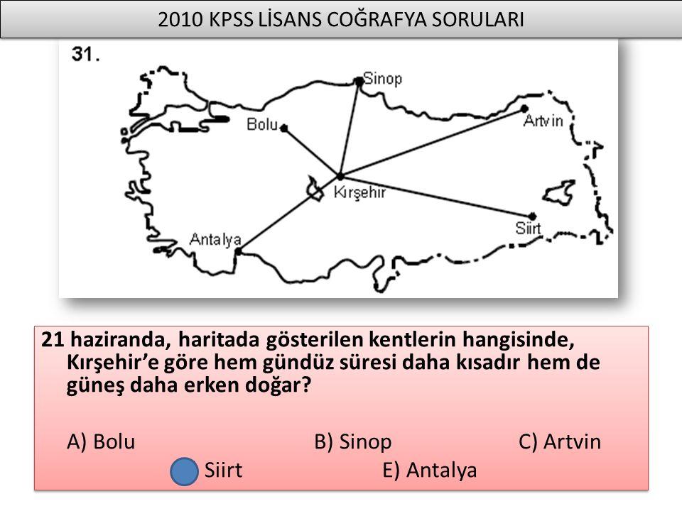 21 haziranda, haritada gösterilen kentlerin hangisinde, Kırşehir'e göre hem gündüz süresi daha kısadır hem de güneş daha erken doğar? A) Bolu B) Sinop