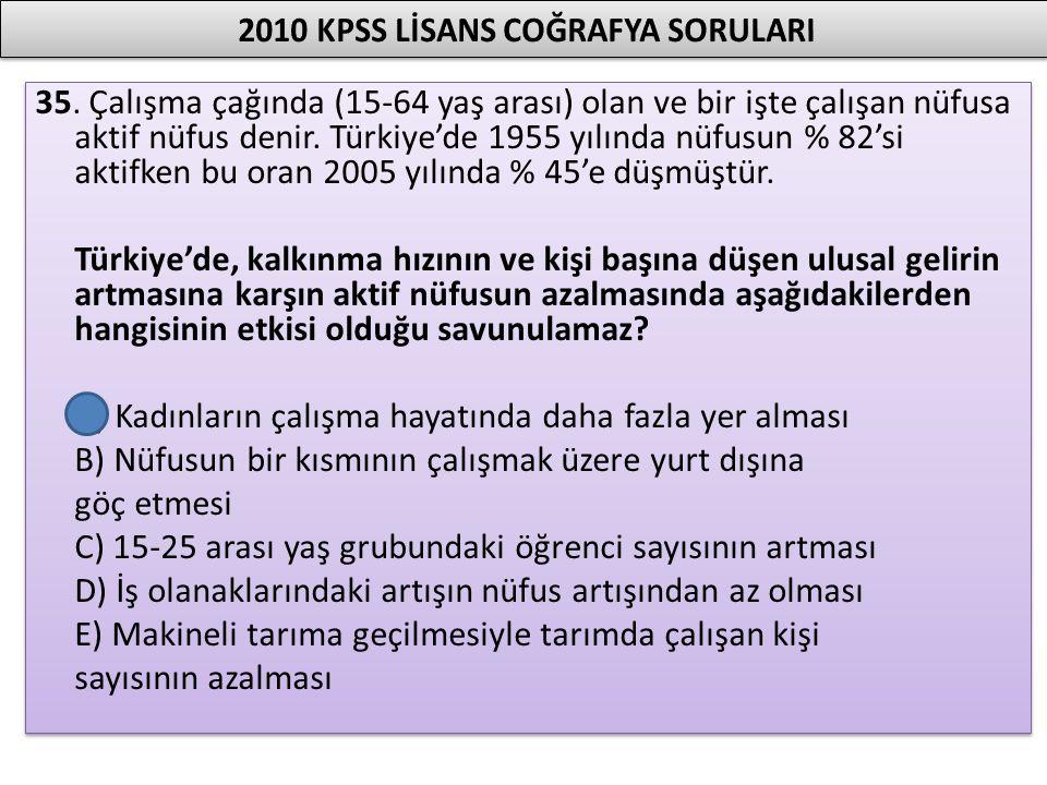 35. Çalışma çağında (15-64 yaş arası) olan ve bir işte çalışan nüfusa aktif nüfus denir. Türkiye'de 1955 yılında nüfusun % 82'si aktifken bu oran 2005