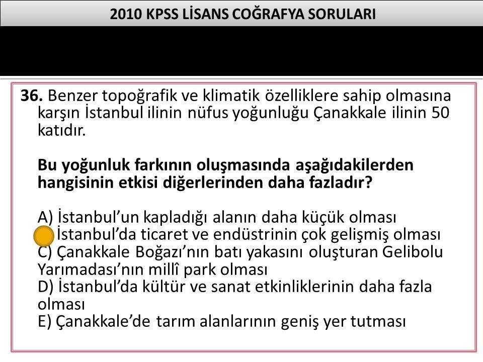 36. Benzer topoğrafik ve klimatik özelliklere sahip olmasına karşın İstanbul ilinin nüfus yoğunluğu Çanakkale ilinin 50 katıdır. Bu yoğunluk farkının