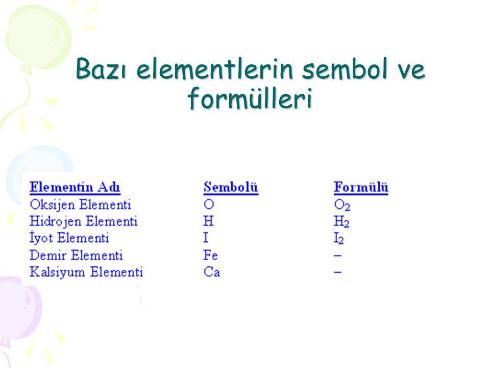 Bazı elementlerin sembol ve formülleri