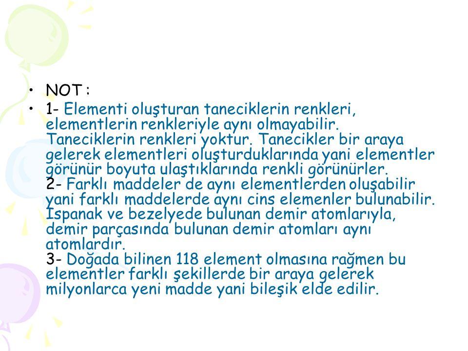 •NOT : •1- Elementi oluşturan taneciklerin renkleri, elementlerin renkleriyle aynı olmayabilir. Taneciklerin renkleri yoktur. Tanecikler bir araya gel