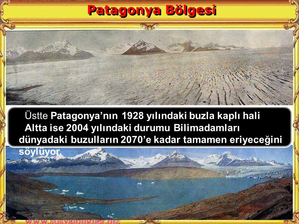 Üstte Patagonya'nın 1928 yılındaki buzla kaplı hali Altta ise 2004 yılındaki durumu Bilimadamları dünyadaki buzulların 2070'e kadar tamamen eriyeceğini söylüyor.