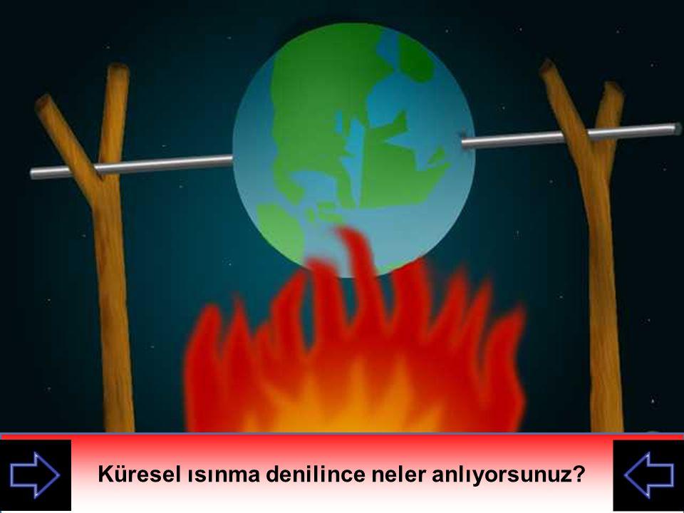 İnsanlar tarafından atmosfere salınan gazların sera etkisi yaratması sonucunda dünya yüzeyinde sıcaklığın artmasına Küresel Isınma denir.