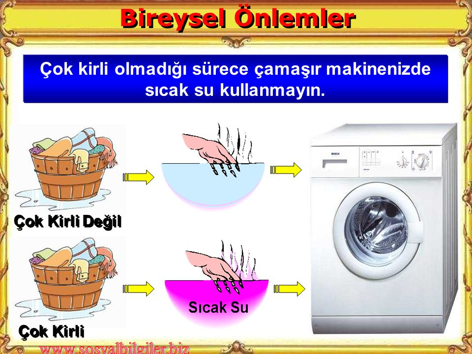 Çok kirli olmadığı sürece çamaşır makinenizde sıcak su kullanmayın. Çok Kirli Değil Çok Kirli Bireysel Önlemler
