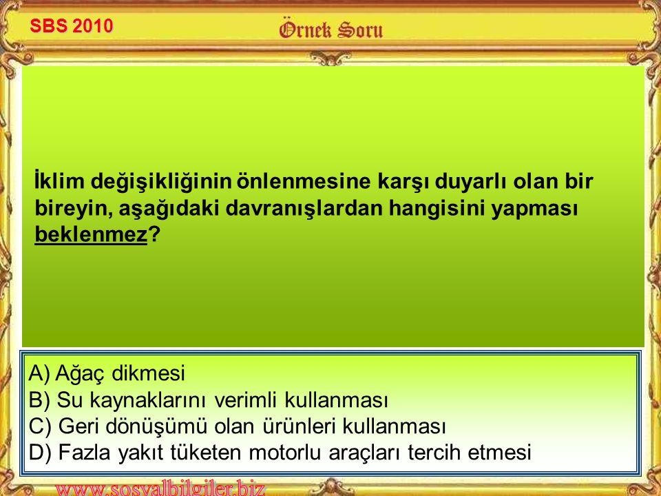 A) Ağaç dikmesi B) Su kaynaklarını verimli kullanması C) Geri dönüşümü olan ürünleri kullanması D) Fazla yakıt tüketen motorlu araçları tercih etmesi İklim değişikliğinin önlenmesine karşı duyarlı olan bir bireyin, aşağıdaki davranışlardan hangisini yapması beklenmez.