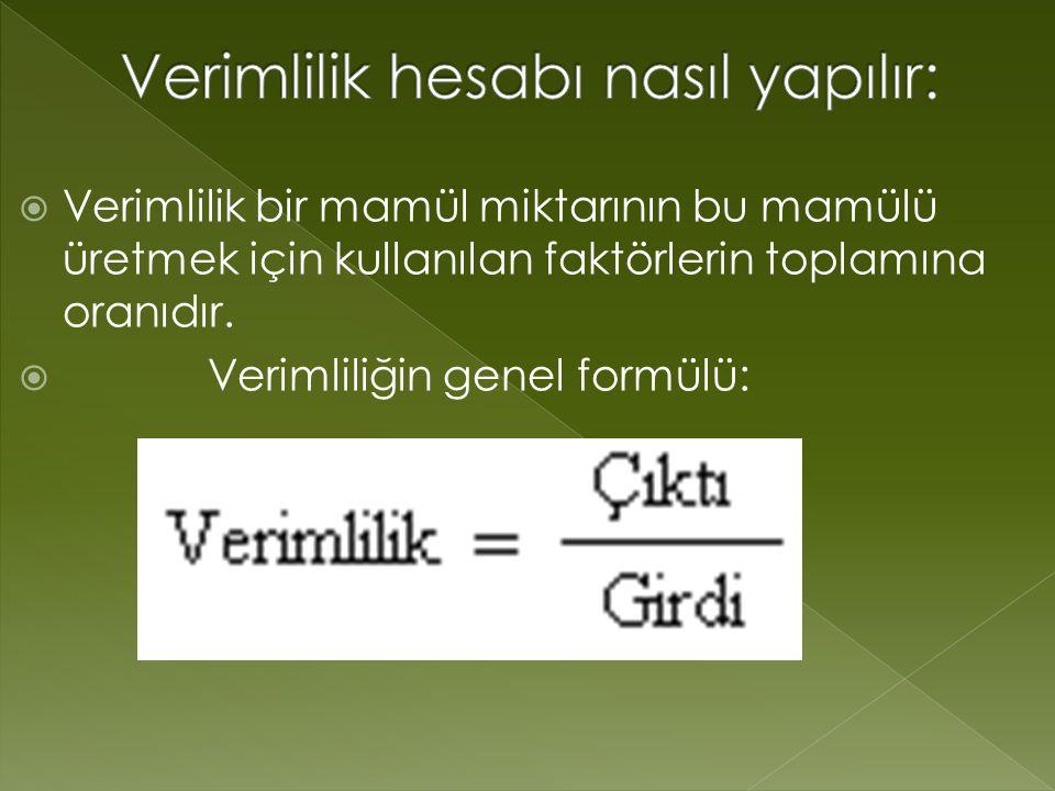  Verimlilik bir mamül miktarının bu mamülü üretmek için kullanılan faktörlerin toplamına oranıdır.