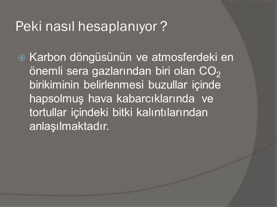 Peki nasıl hesaplanıyor ?  Karbon döngüsünün ve atmosferdeki en önemli sera gazlarından biri olan CO 2 birikiminin belirlenmesi buzullar içinde hapso