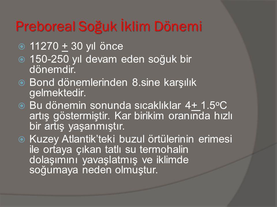Preboreal Soğuk İklim Dönemi  11270 + 30 yıl önce  150-250 yıl devam eden soğuk bir dönemdir.  Bond dönemlerinden 8.sine karşılık gelmektedir.  Bu