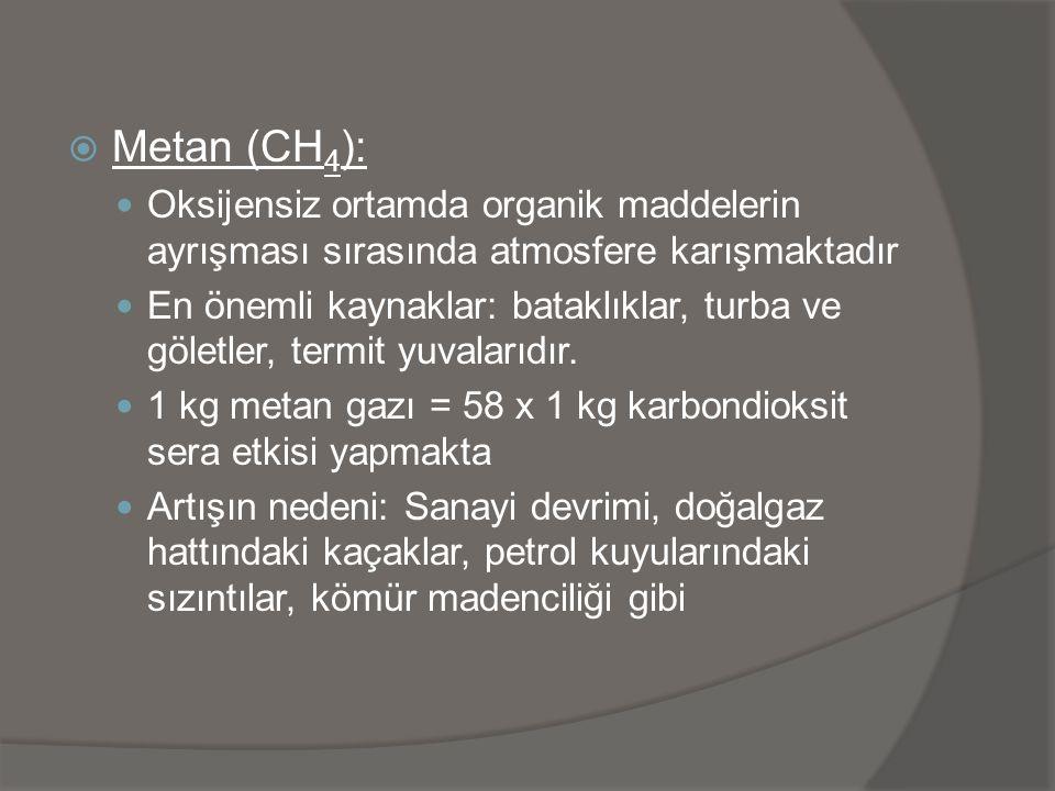  Metan (CH 4 ):  Oksijensiz ortamda organik maddelerin ayrışması sırasında atmosfere karışmaktadır  En önemli kaynaklar: bataklıklar, turba ve göle
