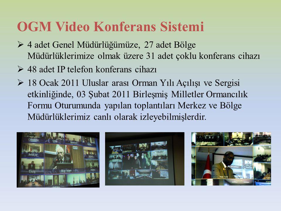 OGM Video Konferans Sistemi  4 adet Genel Müdürlüğümüze, 27 adet Bölge Müdürlüklerimize olmak üzere 31 adet çoklu konferans cihazı  48 adet IP telefon konferans cihazı  18 Ocak 2011 Uluslar arası Orman Yılı Açılışı ve Sergisi etkinliğinde, 03 Şubat 2011 Birleşmiş Milletler Ormancılık Formu Oturumunda yapılan toplantıları Merkez ve Bölge Müdürlüklerimiz canlı olarak izleyebilmişlerdir.