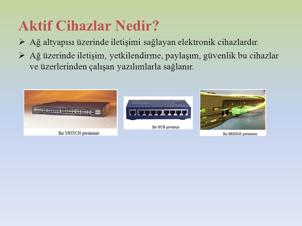 Aktif Cihazlar Nedir. Ağ altyapısı üzerinde iletişimi sağlayan elektronik cihazlardır.