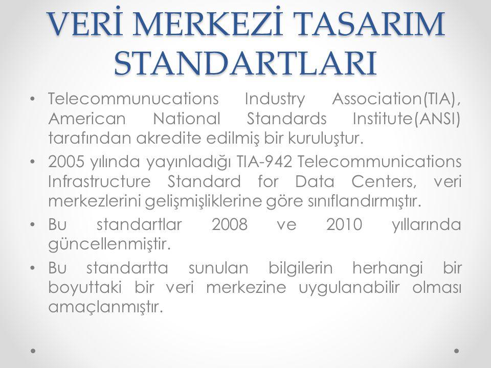 VERİ MERKEZİ TASARIM STANDARTLARI • Telecommunucations Industry Association(TIA), American National Standards Institute(ANSI) tarafından akredite edil