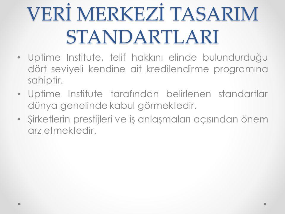 VERİ MERKEZİ TASARIM STANDARTLARI • Tier 1 Seviyesi: • Küçük işletmelere hizmet veren veri merkezleridir.